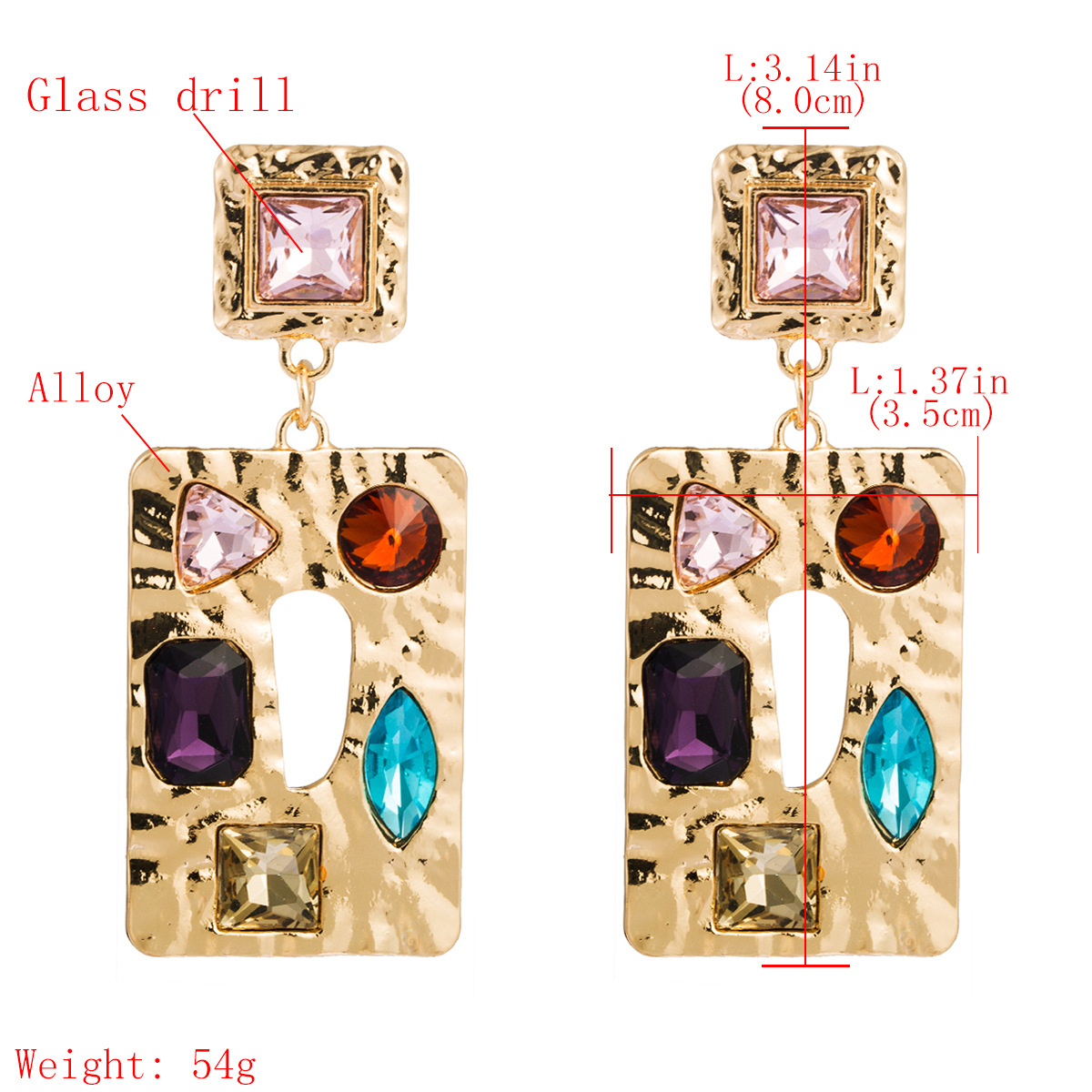 Square alloy diamond glass drill earrings female fashion metal texture bohemian earrings NHJE176151