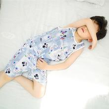 儿童背心夏季无袖短裤人造棉绸套装男女童宝宝家居服绵绸睡衣