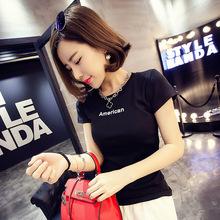 S201 春夏裝半袖女士短袖體恤衫百搭印花字母顯瘦上衣T恤女韓版潮
