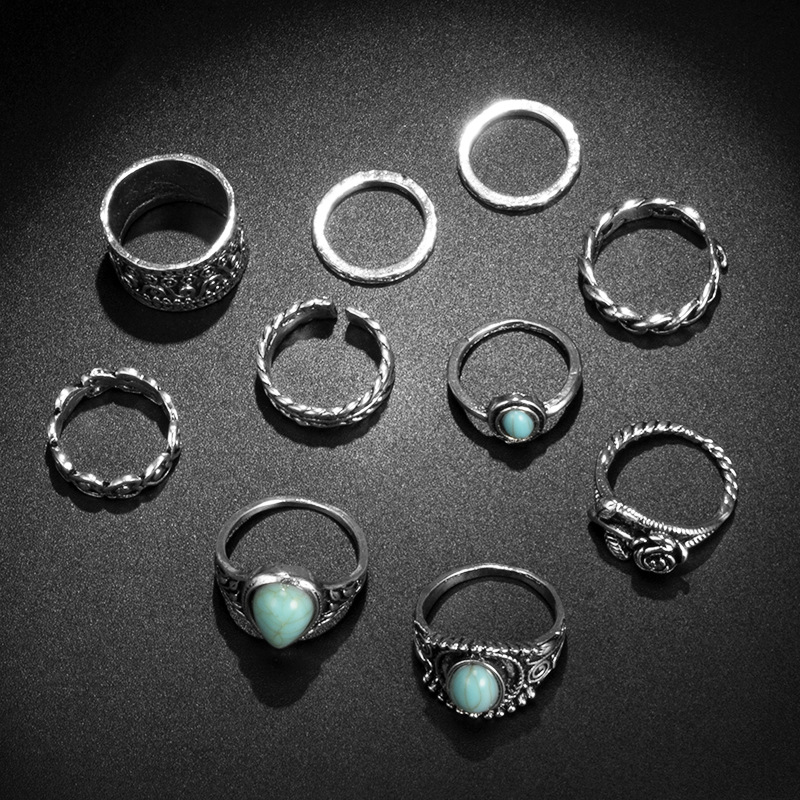 New Fashion Retro Water Drop Turquoise Rose Knotted Open Alloy Ring Set NHGY195415