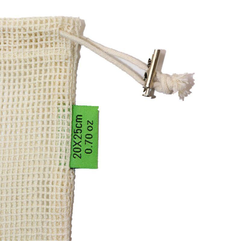 中号30*25合金扣有机纯棉网蔬菜水果袋棉布袋重复使用纯棉网布袋