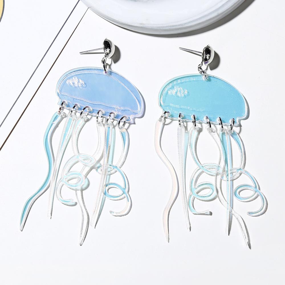 Pendientes Moda Sinfonía Fresca y Encantadora Pendientes de Medusa de Acrílico Transparente Mujeres NHXI176914