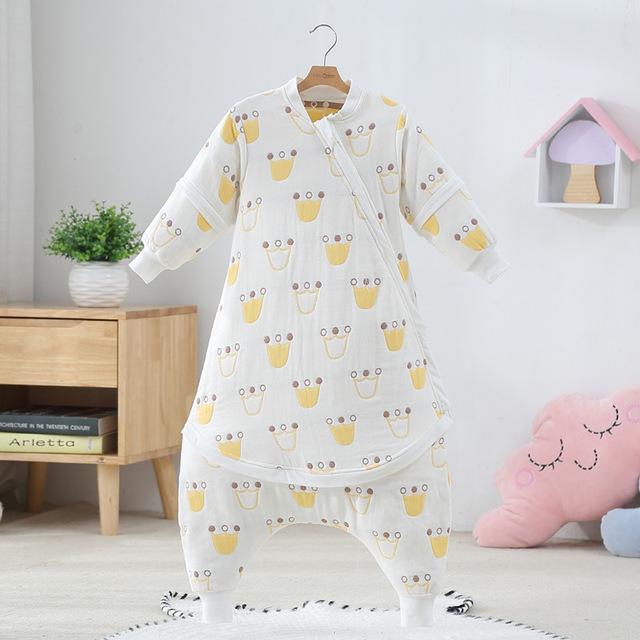 印花儿童睡袋婴幼儿寝居六层纱布三合一蘑菇分腿加长宝宝睡袋批发