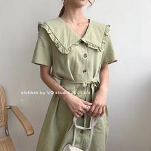 现货女装2019夏季轻熟气质韩版女装小清新短袖娃娃领A字裙连衣裙