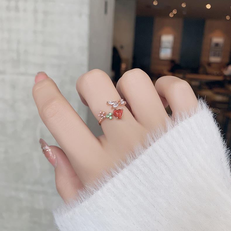 Korean new microinlaid crystal zircon ring NHMS319862