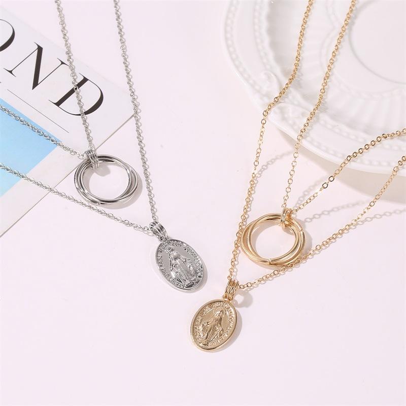 Double Geometry Jesus Necklace Metal Ring Pendant Jewelry Wholesale NHDP181314