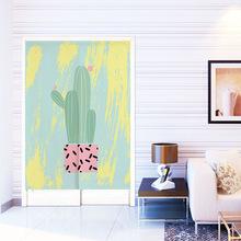 彩色植物仙人掌菠萝门帘衣柜半帘书房卧室遮挡帘挂帘定制装饰帘子
