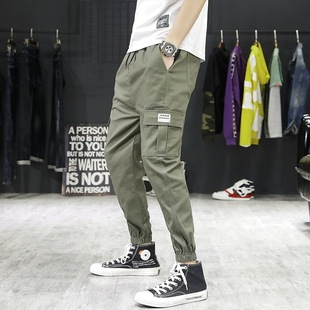 2019 spring and summer new pants male ins port fashion brand elastic band multi-pocket overalls and tapered pants men's clothing