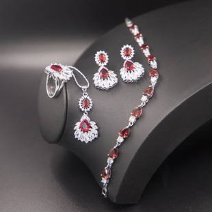 2021 new jewelry set, earrings, ring and necklace three-piece set, European and American diamond jewelry set wholesale