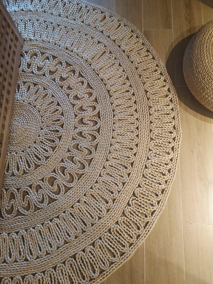 日式天然玉米皮草编地垫加厚环保家居地毯猫咖茶楼圆垫简约花纹