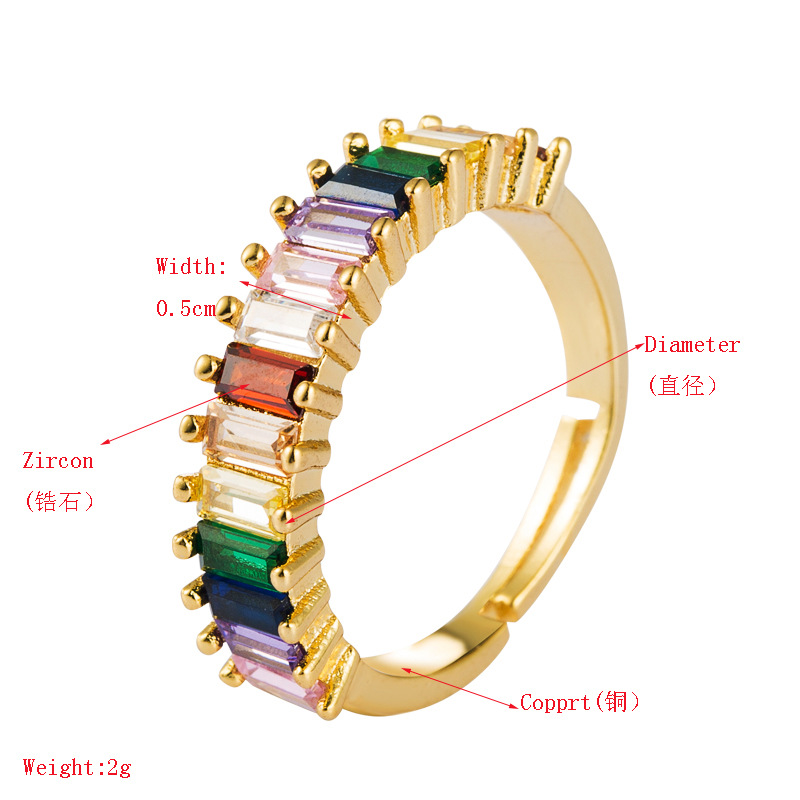 Copper plated 18K gold inlaid colored zircon ring male rainbow ring opening NHLN175575