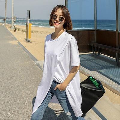 现货 韩版夏季宽松显瘦不规则开叉打底衫中长款上衣五分袖T恤女