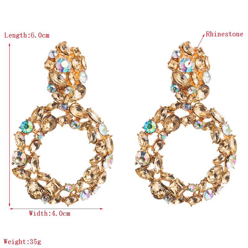 Diamond exaggerated earrings ladies colorful earrings alloy long earrings wholesales fashion NHLN179638