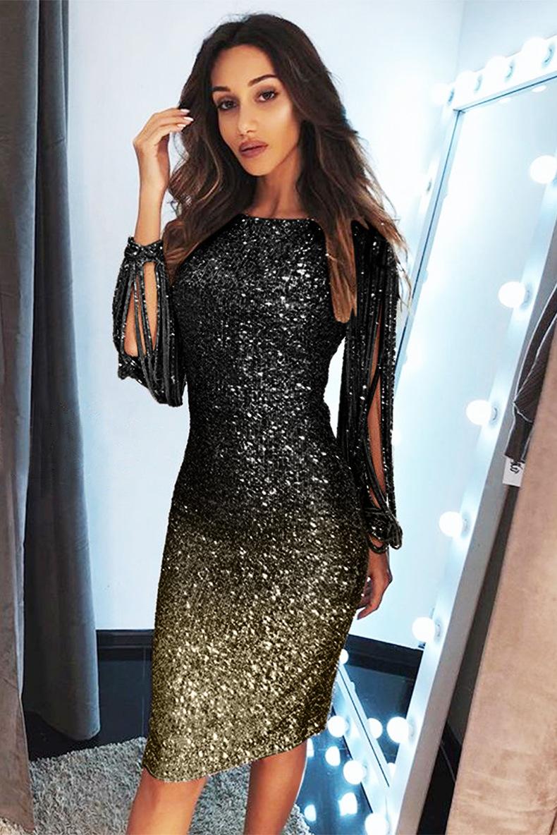 mini women's gradient color sequins fringed sleeves slim dress NSSI2422