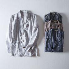 2020春季新款長袖純色棉麻休閑西裝男多口袋直筒小西服男一件代發