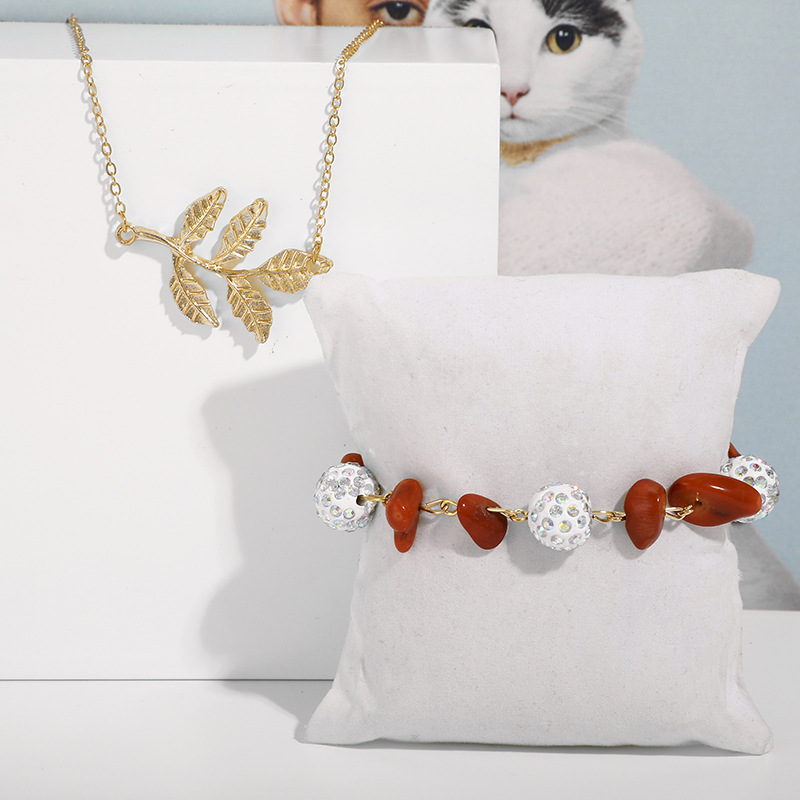 Bohemian creative crystal ball red gravel leaf necklace bracelet set NHGY170358