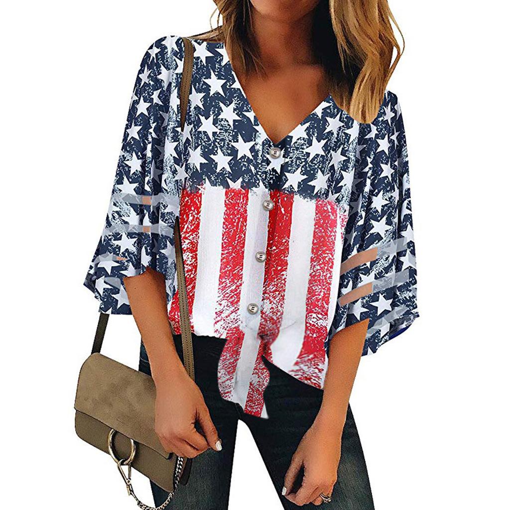 速卖通ebay热卖v领美国国旗印花纽扣装饰七分袖女装上衣