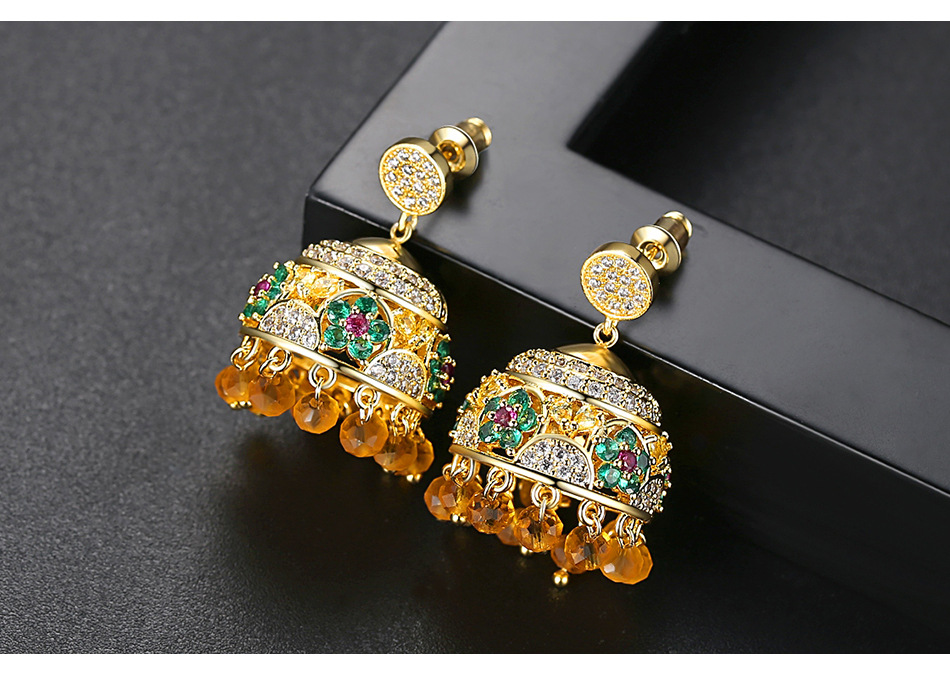 Nihaojewelry Colored wind chimes ladies temperament golden fringed copper studded stud earrings gift NHTM199511