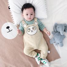 MINI贝贝城 婴儿长裤秋冬新款宝宝裤韩版卡通儿童背带裤外出服