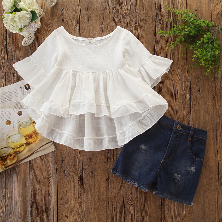 Girls' suit summer, middle and big kids' ins popular European and American fashion suit swallow tail white top + denim shorts