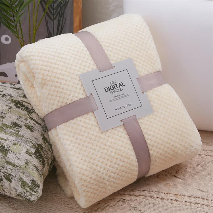 加厚纯色网眼菠萝格毛毯 珊瑚绒瑜伽盖毯 法兰绒毛毯定制礼品毯子