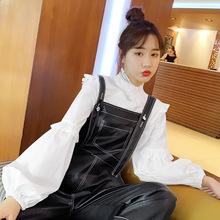 春季新款很仙的上衣洋气韩版宽松木耳边长袖白色衬衫女设计?#34892;?#20247;