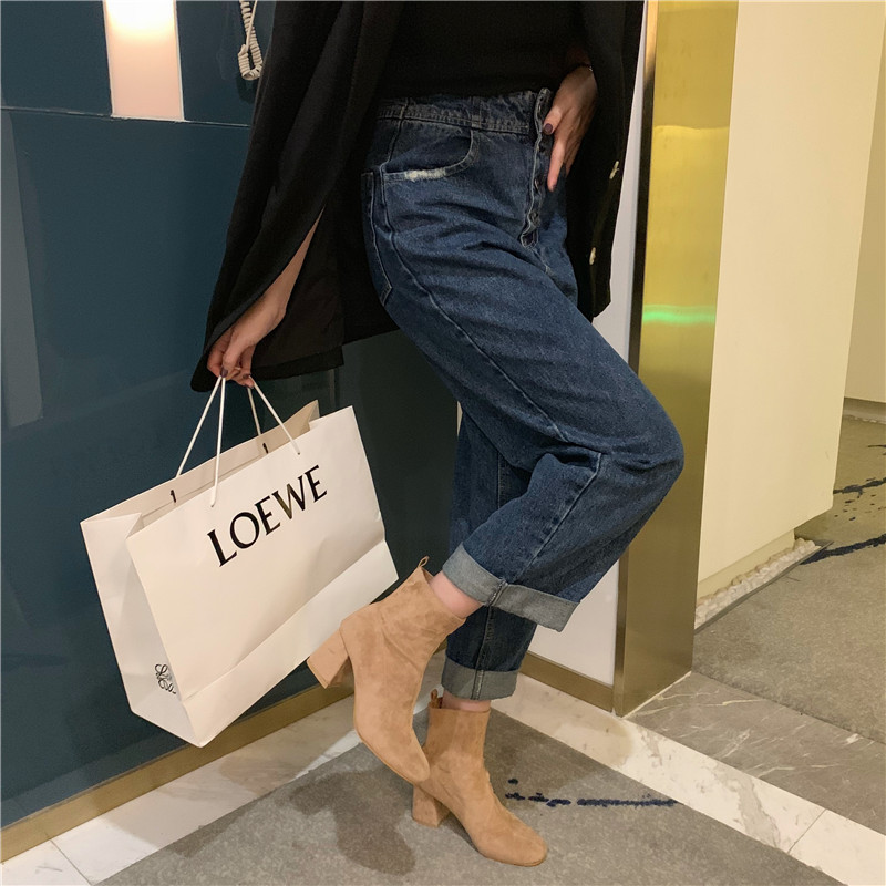 New product square head thick with suede boots women's slim high-heeled thin elastic boots NHHU171625