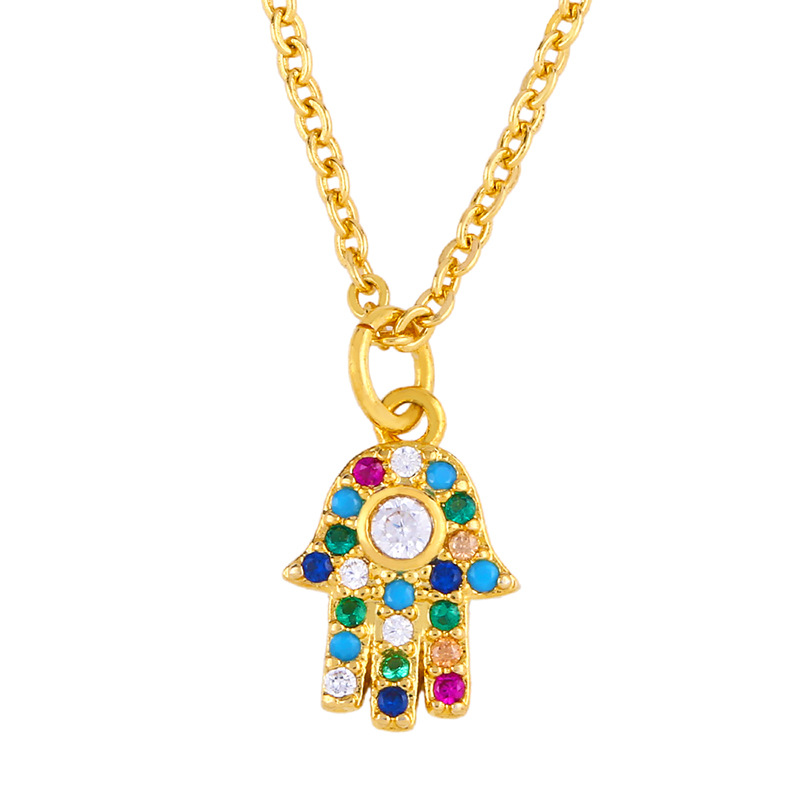 Inlaid color diamond palm pendant delicate compact sweater chain NHAS177636