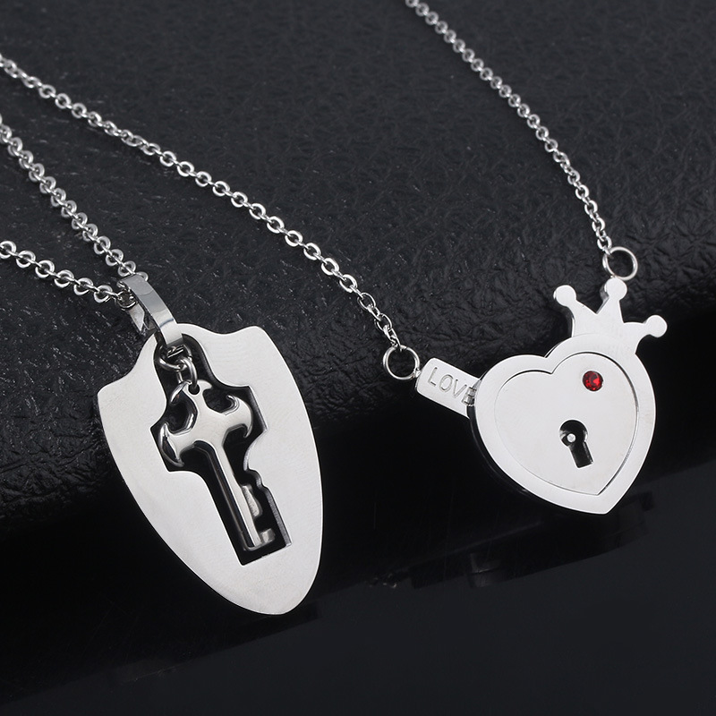 New Valentine's Day Couple Necklace Wholesale Love Lock Jewelry Gift NHRJ193582