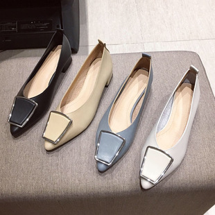 Thick-heeled shoes women 2021 new spring pointed toe fashion trend Korean metal buckle mid-heel casual Mary Jane shoes