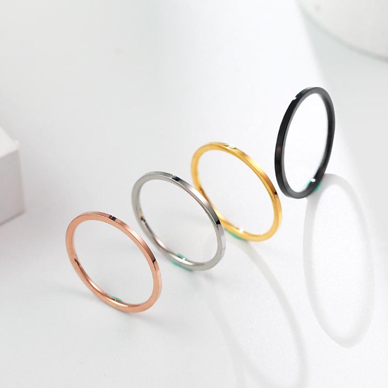 欧美1mm极简极细光面不锈钢戒指 钛钢玫瑰金女对戒跨境配饰礼物