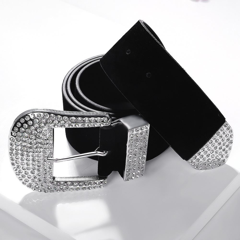 Simple solid color belt fashion alloy pin buckle waist chain NHJQ156629