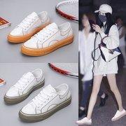 网红小白鞋女2019新款百搭潮鞋秋季透气板鞋帆布鞋糖果色爆款女鞋