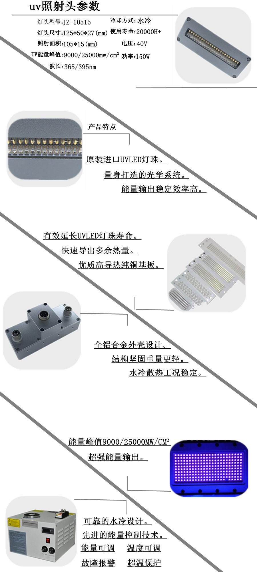 深紫外UVLED光固机105*15面光源喷码打印固化光源小型UV打印机