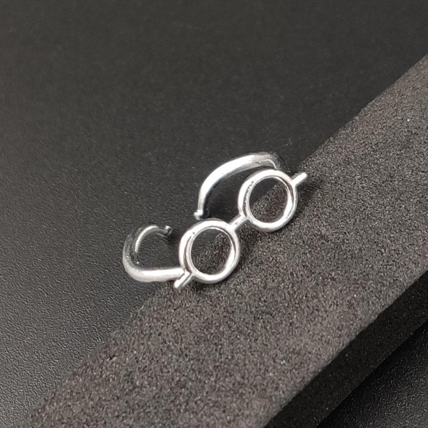 镀S925纯银情侣戒指男女士圆形方框眼镜戒指指环时尚食指戒闺蜜