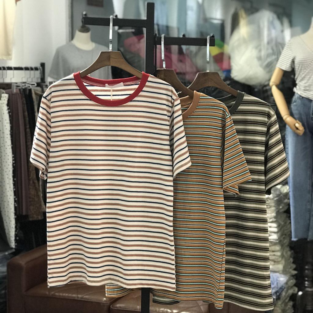 网红新品夏装女韩版显瘦条纹圆领T恤棉直筒显瘦打底衫东大门