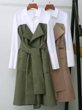 现货代发2019春季韩版新款时尚口袋装饰绑带翻领连衣裙|3191SZ505