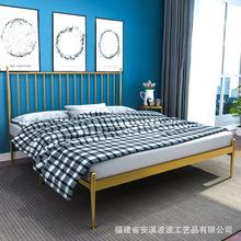 北欧金色铁艺床简约现代公寓酒店床学生单双人床家具1.8米铁架床