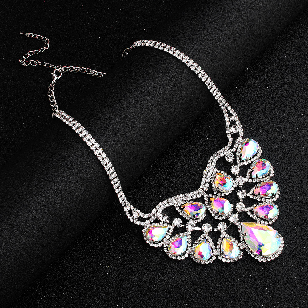 Alloy Fashion Flowers necklace  (AB color rhinestone)  Fashion Jewelry NHHS0665-AB-color-rhinestone