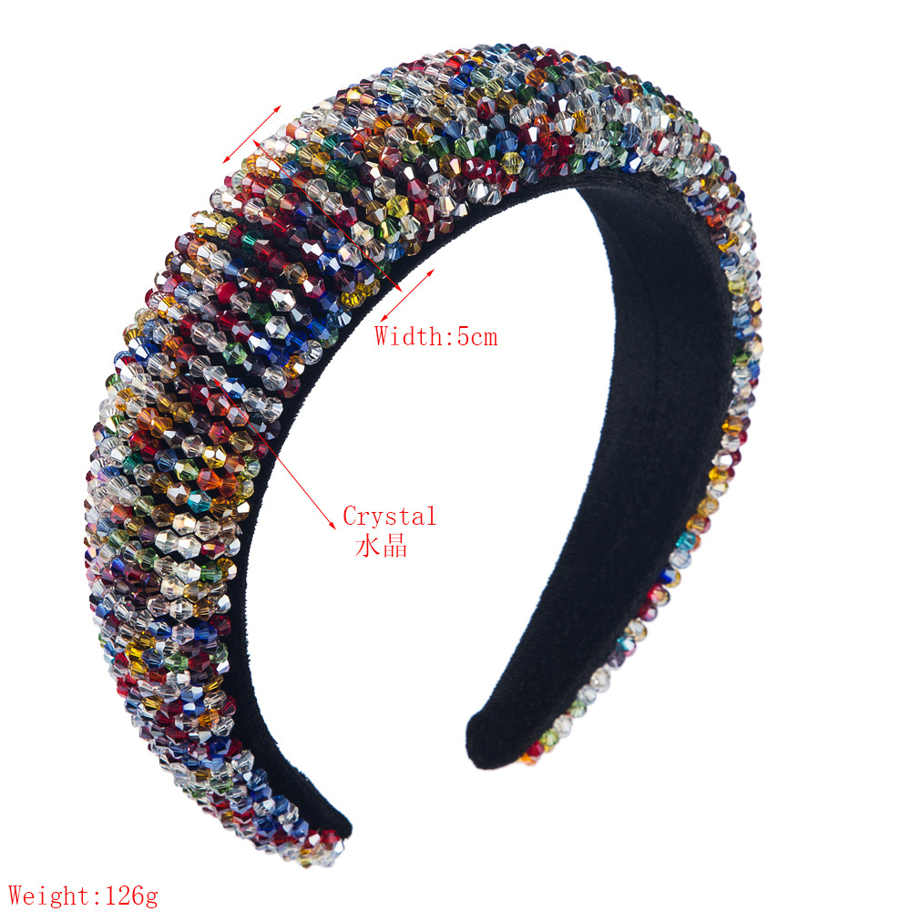 Luxury high-grade handmade beaded sponge cloth with crystal wide-edge hair hoop NHLN190904