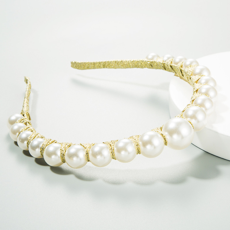 Europe and the United States set pearl hair hoop winding thin edge hair accessories fashion head buckle NHLN187262