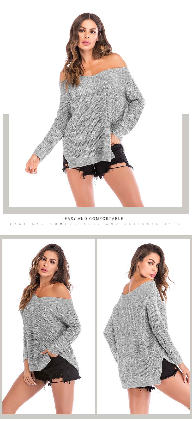 Fashion long sleeve off-the-shoulder sweater NHTK153306