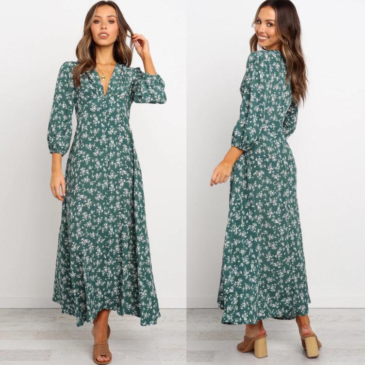 new printed long skirt V-neck pleated buckle three-quarter sleeves dress NSYD3721