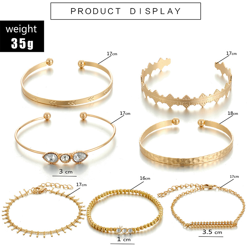 Creative string gold beads drop-shaped diamond open bracelet 7-piece combination NHGY177496