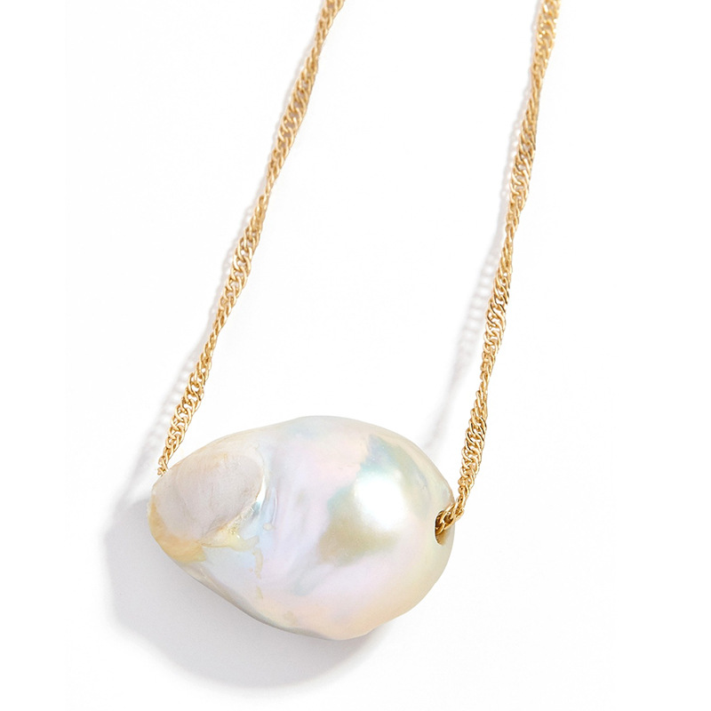 Natural baroque shaped pearl women's necklace retro simple pendant necklace NHLL194639