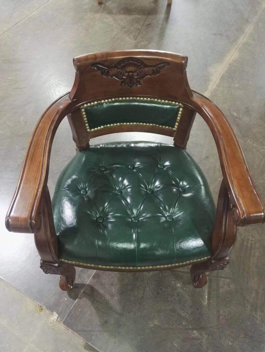 欧式带扶手实木真皮餐椅休闲靠背麻将办公酒店美式复古书房老板椅
