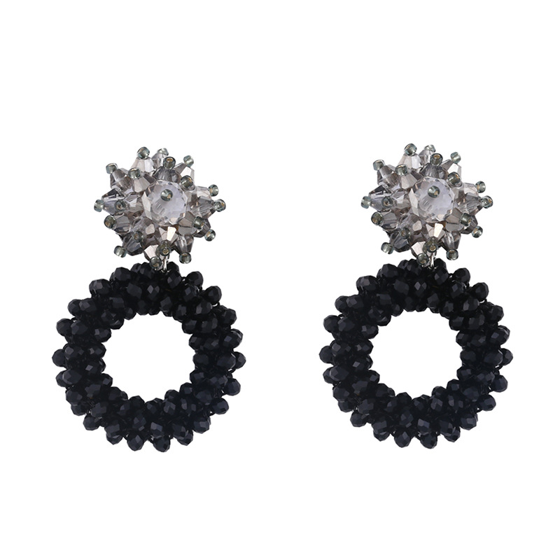 Fashion imitated crystal rice beads geometric round alloy earrings NHAS134509