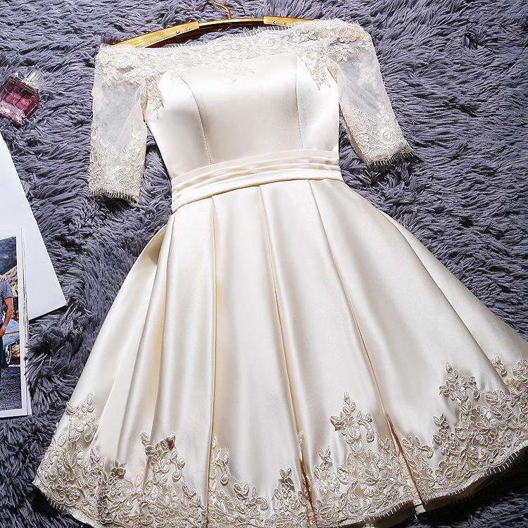 现货2020新款结婚敬酒服一字肩短款短袖宴会礼服连衣裙女礼服