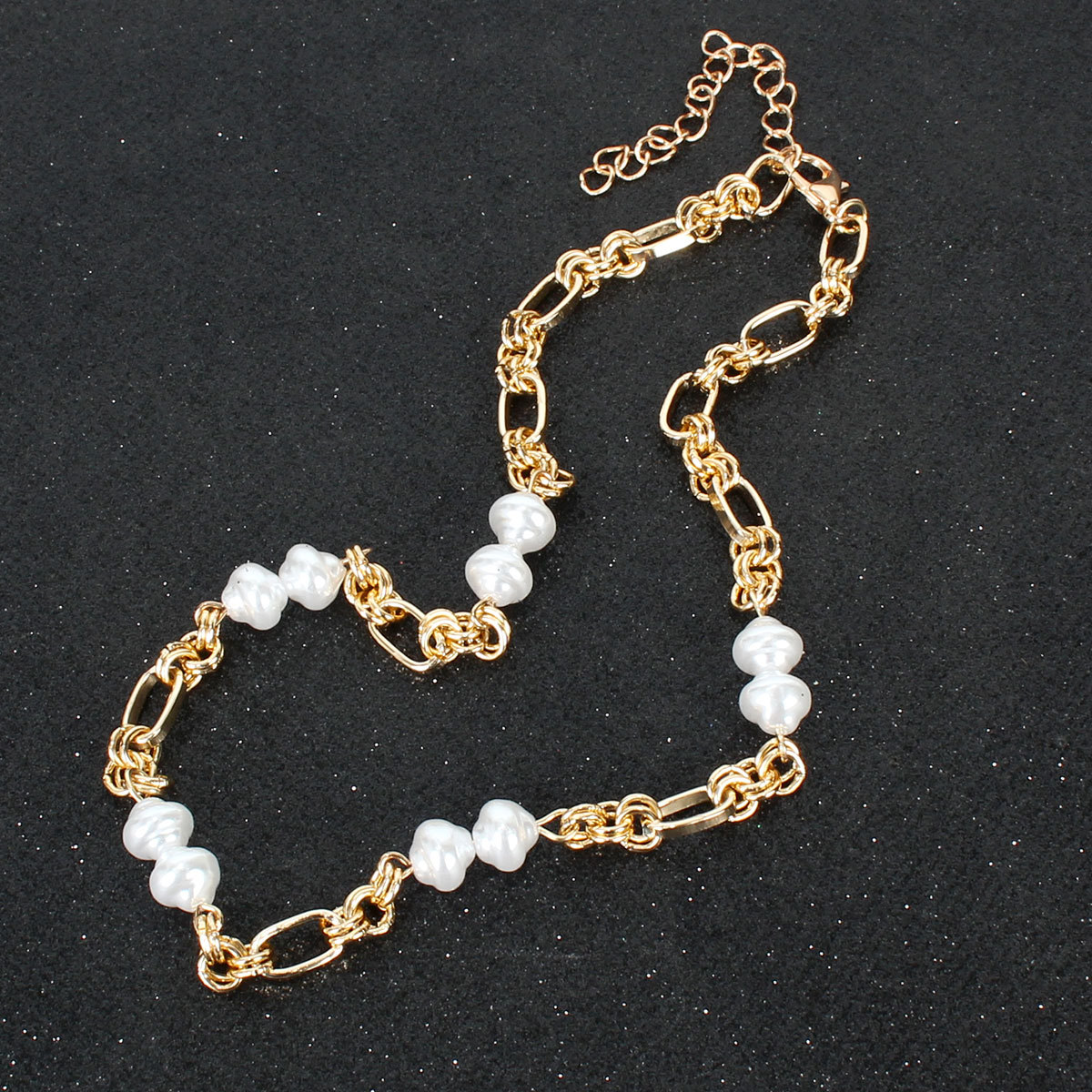 Imitation pearl choker metal necklace short necklace wholesale NHCT211613