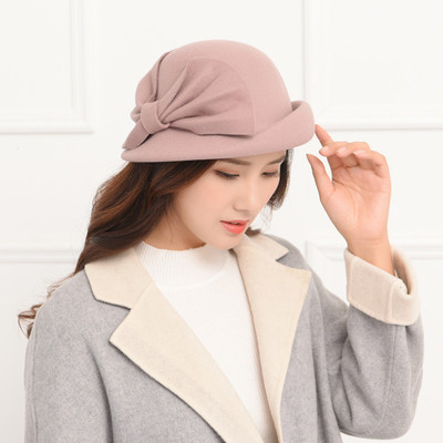 Party hats Fedoras hats for women Hat Women domed woolen felt hat top hat curled big bow Belle hat